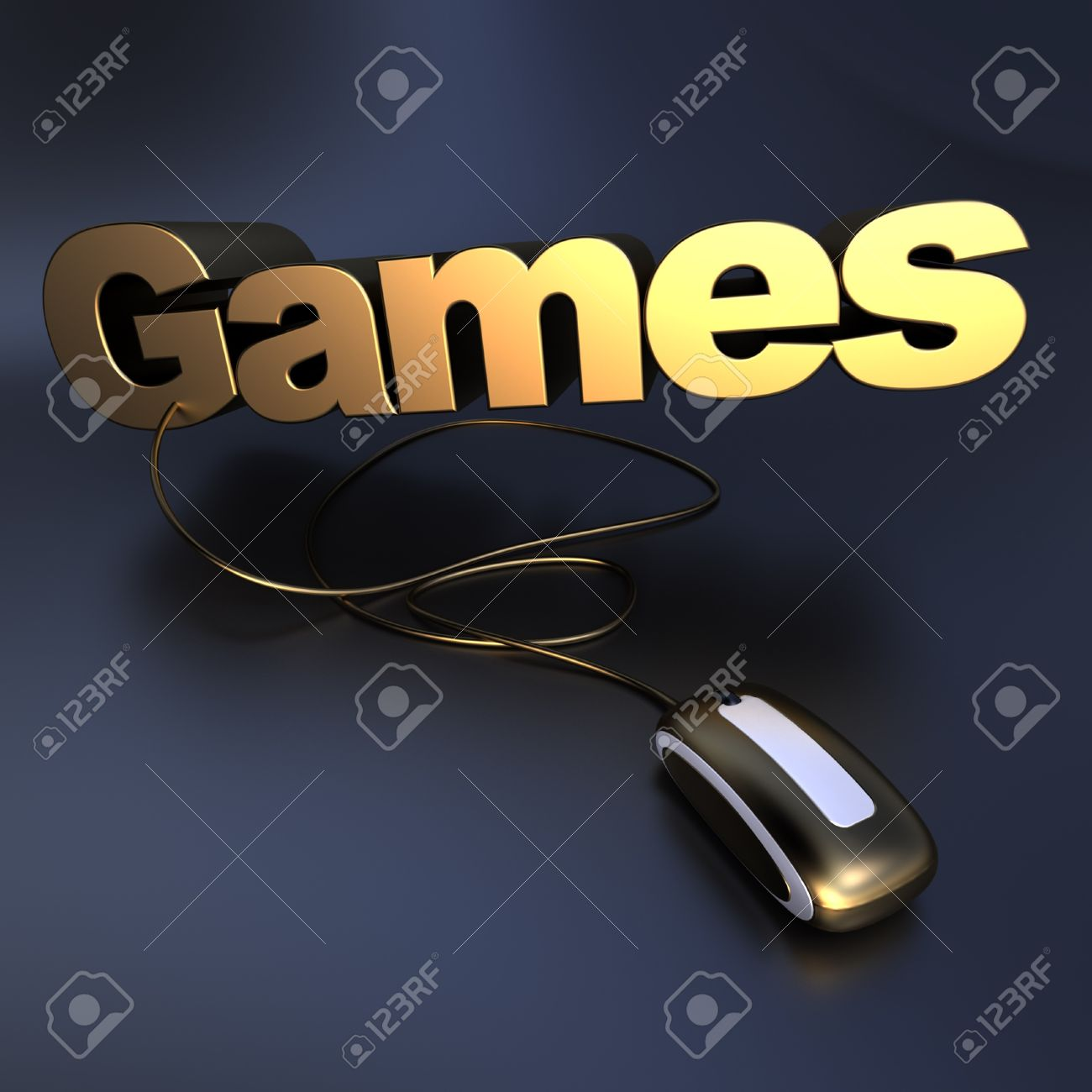 3D Illustration Of The Word Games In Gold Connected To A Computer ...