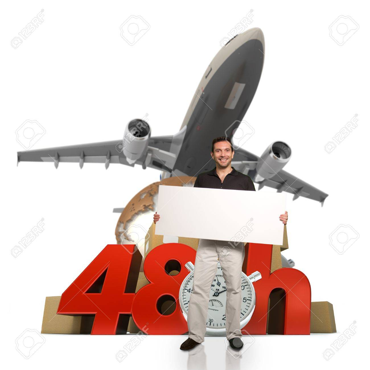 A man holding a blank signboard with a 48 hr transportation background Stock Photo - 14230194