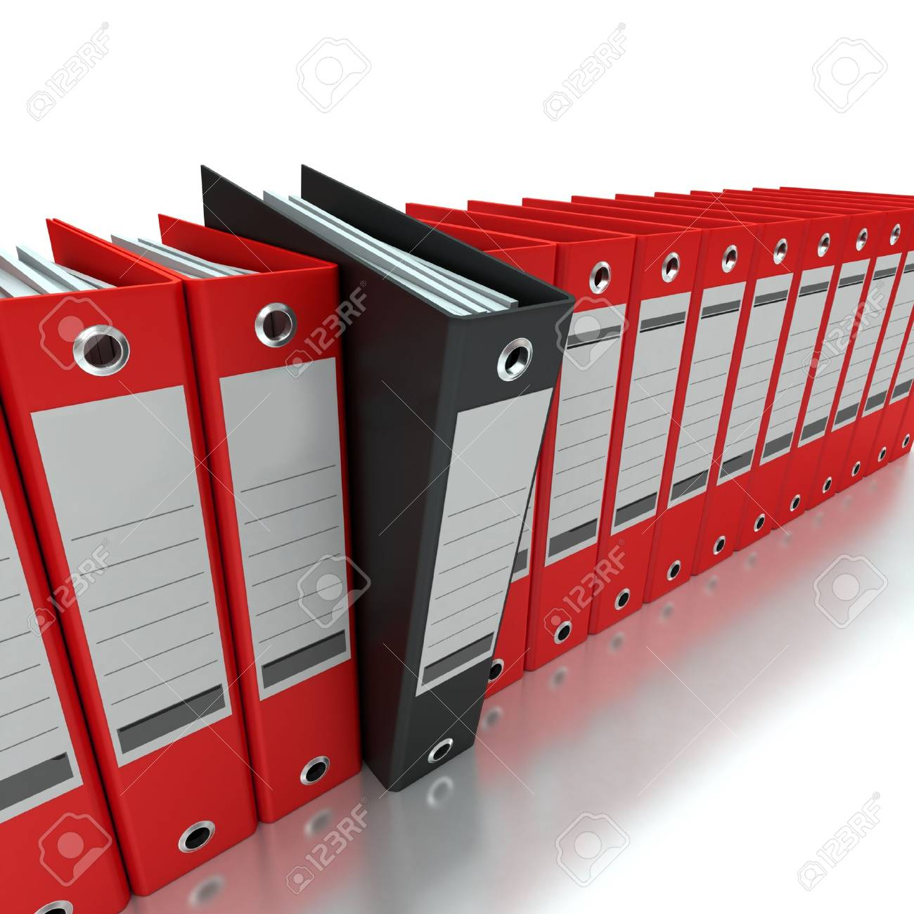 3D rendering of a line of office ring binders with one sticking out Stock Photo - 14307913