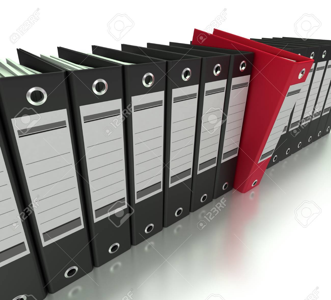 3D rendering of a line of office ring binders with one sticking out Stock Photo - 14595006