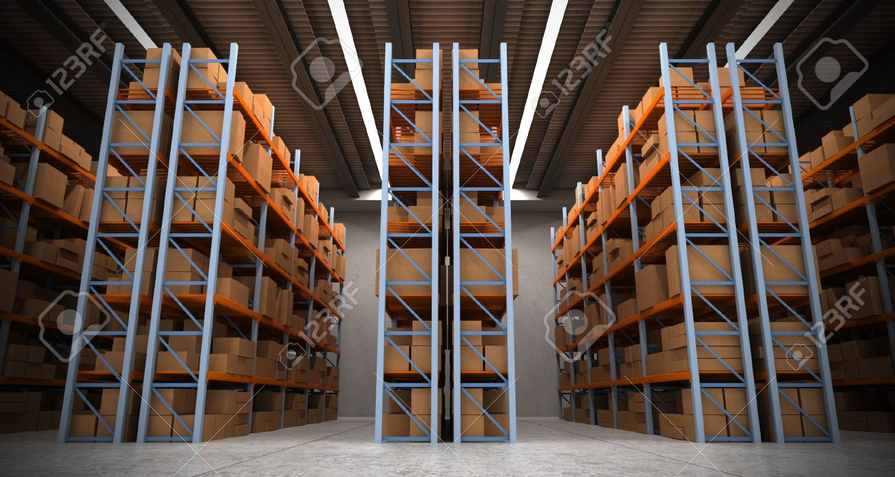 3D rendering of a distribution warehouse with shelves, racks,