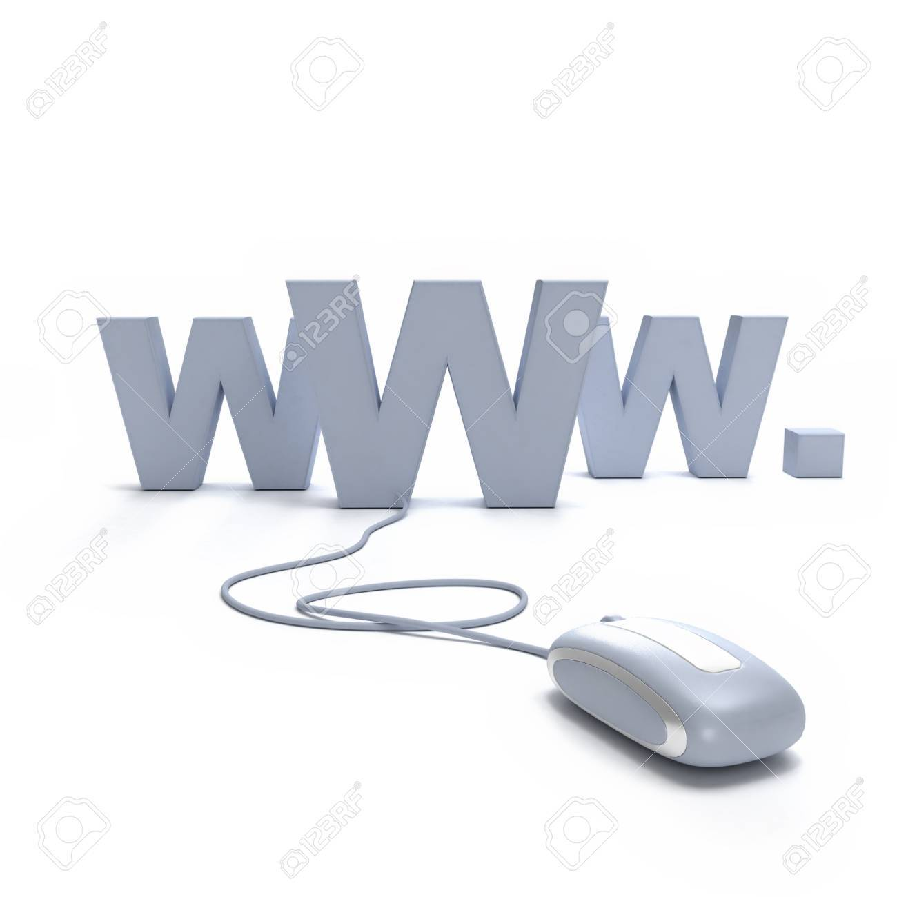 Internet symbol www connected to a mouse Stock Photo - 15552056
