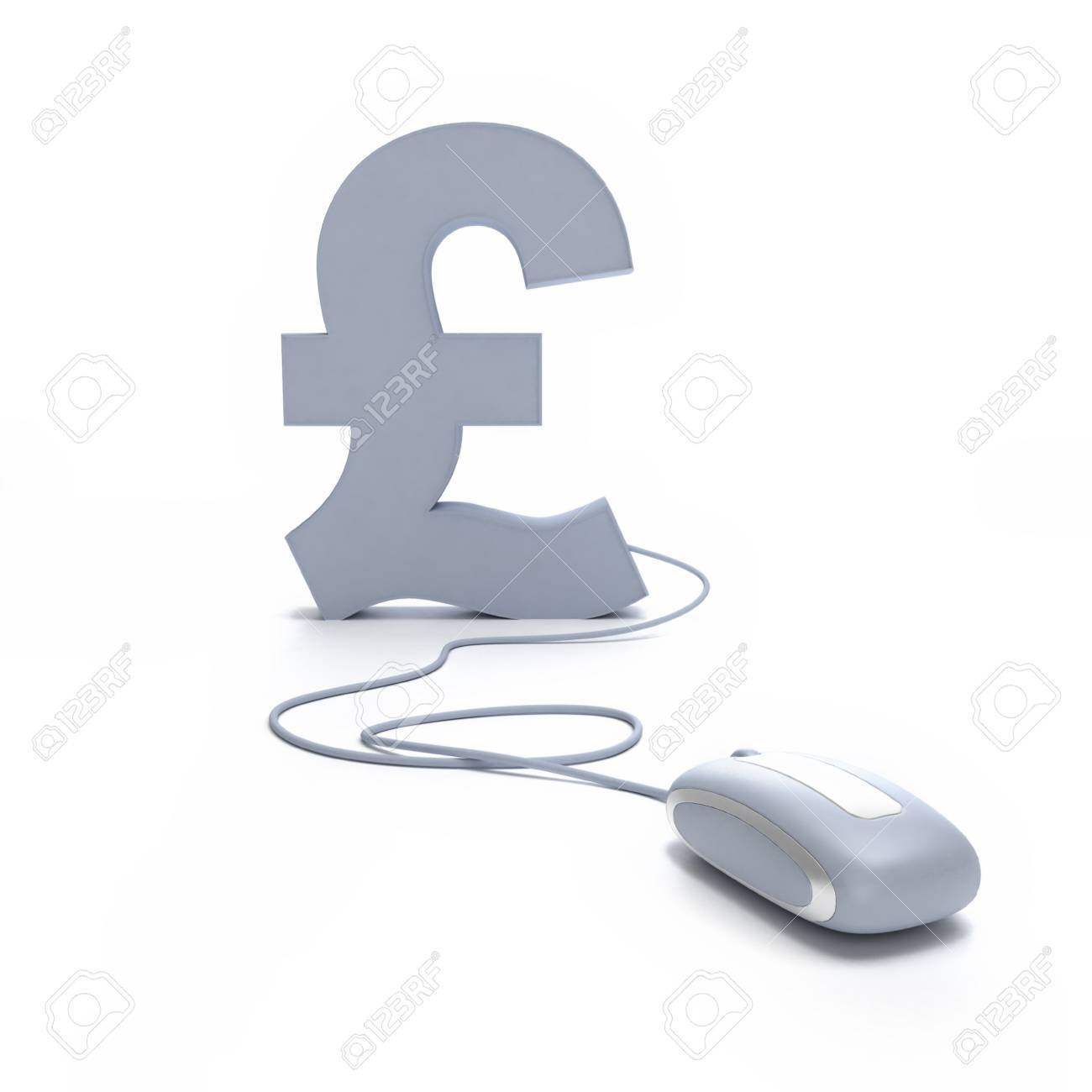 3d Rendering Of A Pound Symbol Connected To A Computer Mouse Stock