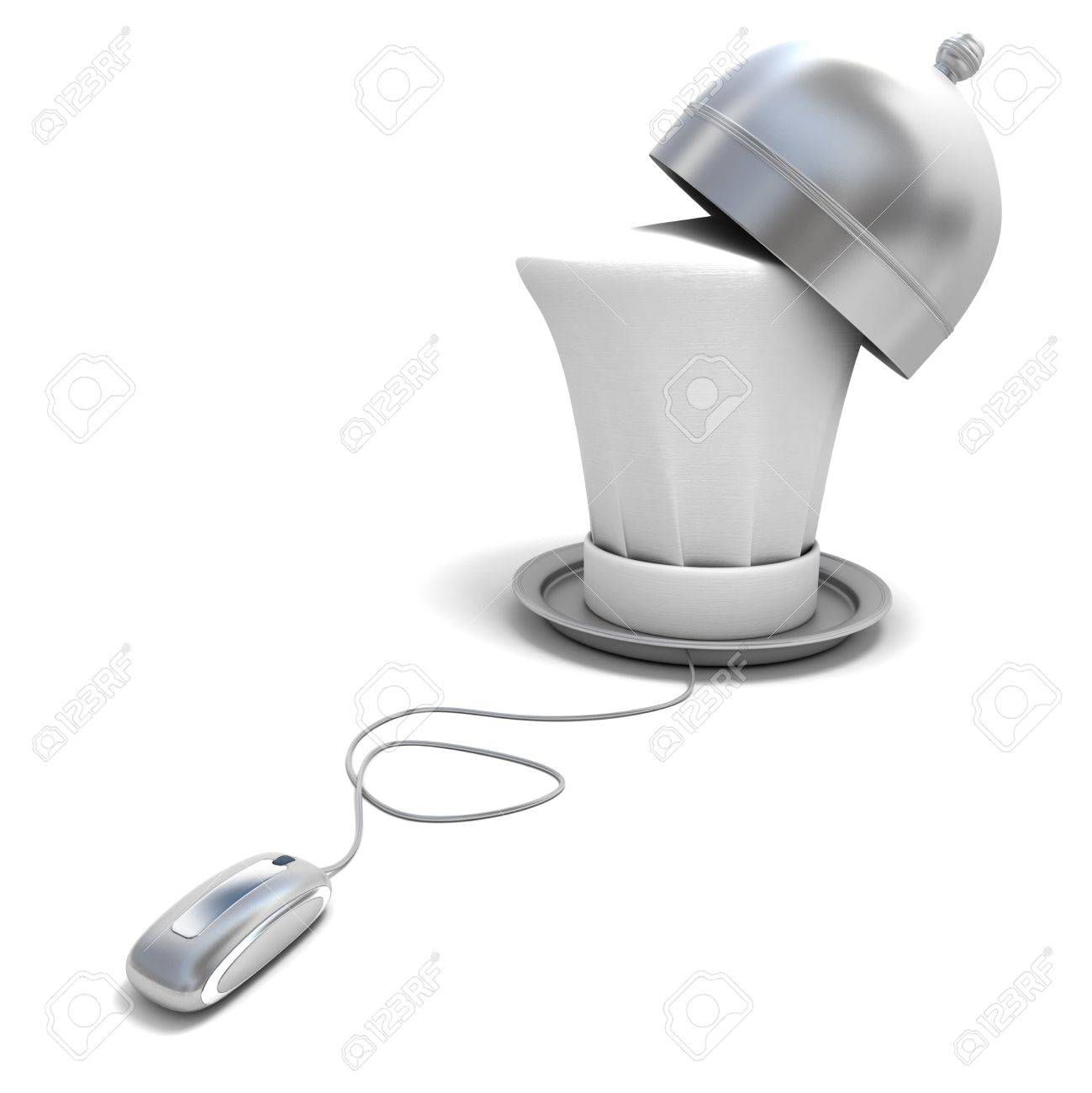 3D rendering of a chef's hat on a platter with a bell connected to a computer mouse Stock Photo - 15905529