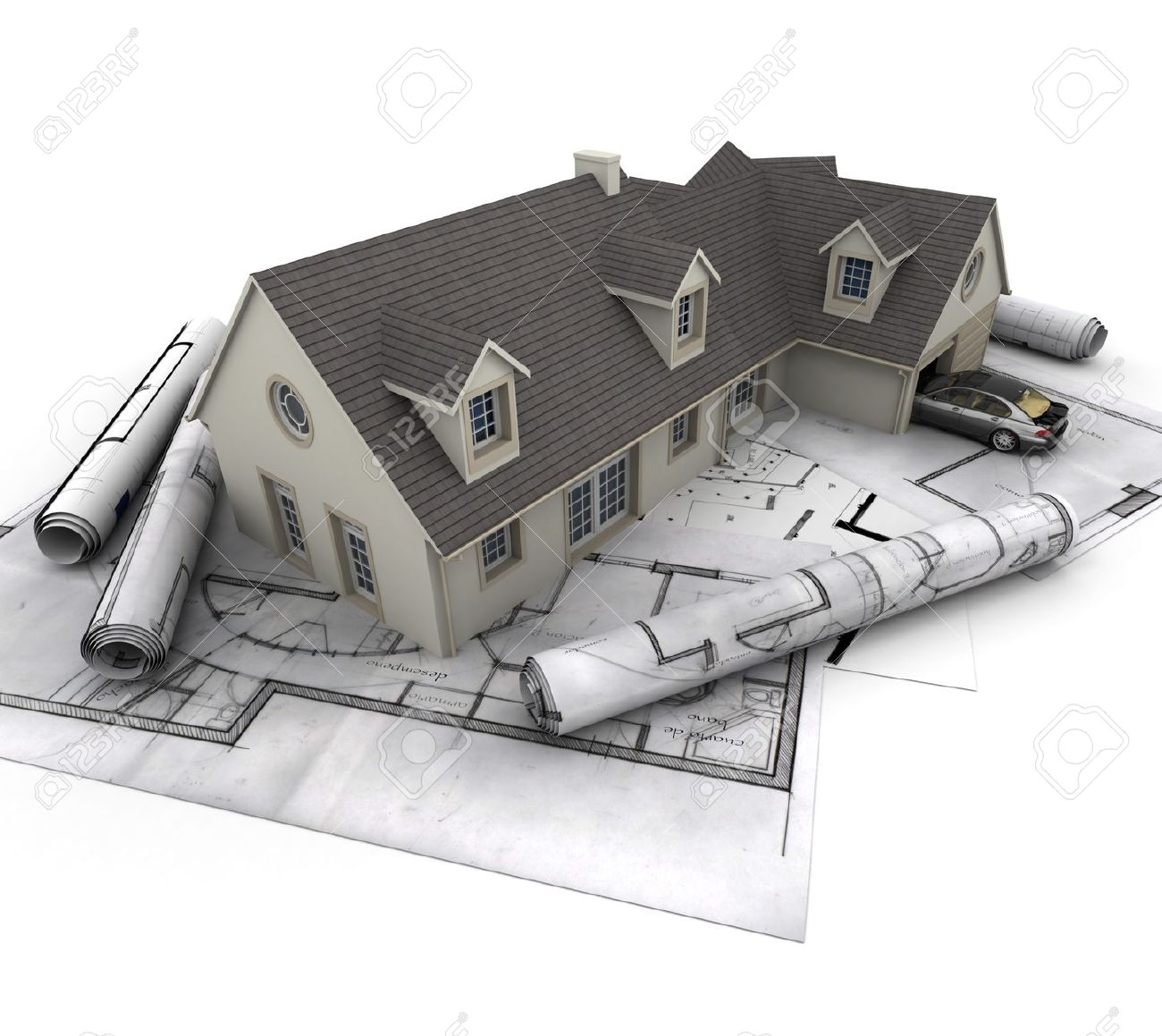 3d rendering of a house with garage on top of blueprints stock 3d rendering of a house with garage on top of blueprints stock photo 16036558 malvernweather Images
