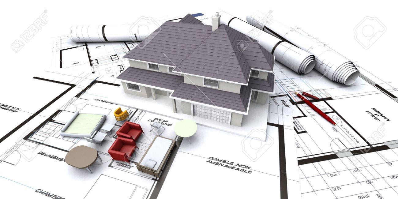 Maison Maquette Sur Des Plans D Architecte Avec Enroul S Plans Et  # Plan Des Meubles