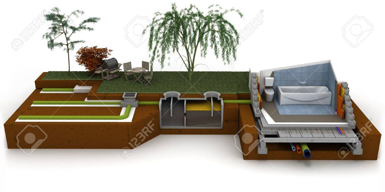 3D Rendering Of A House Cross Section Showing Bathroom And Sewage System Stock Photo