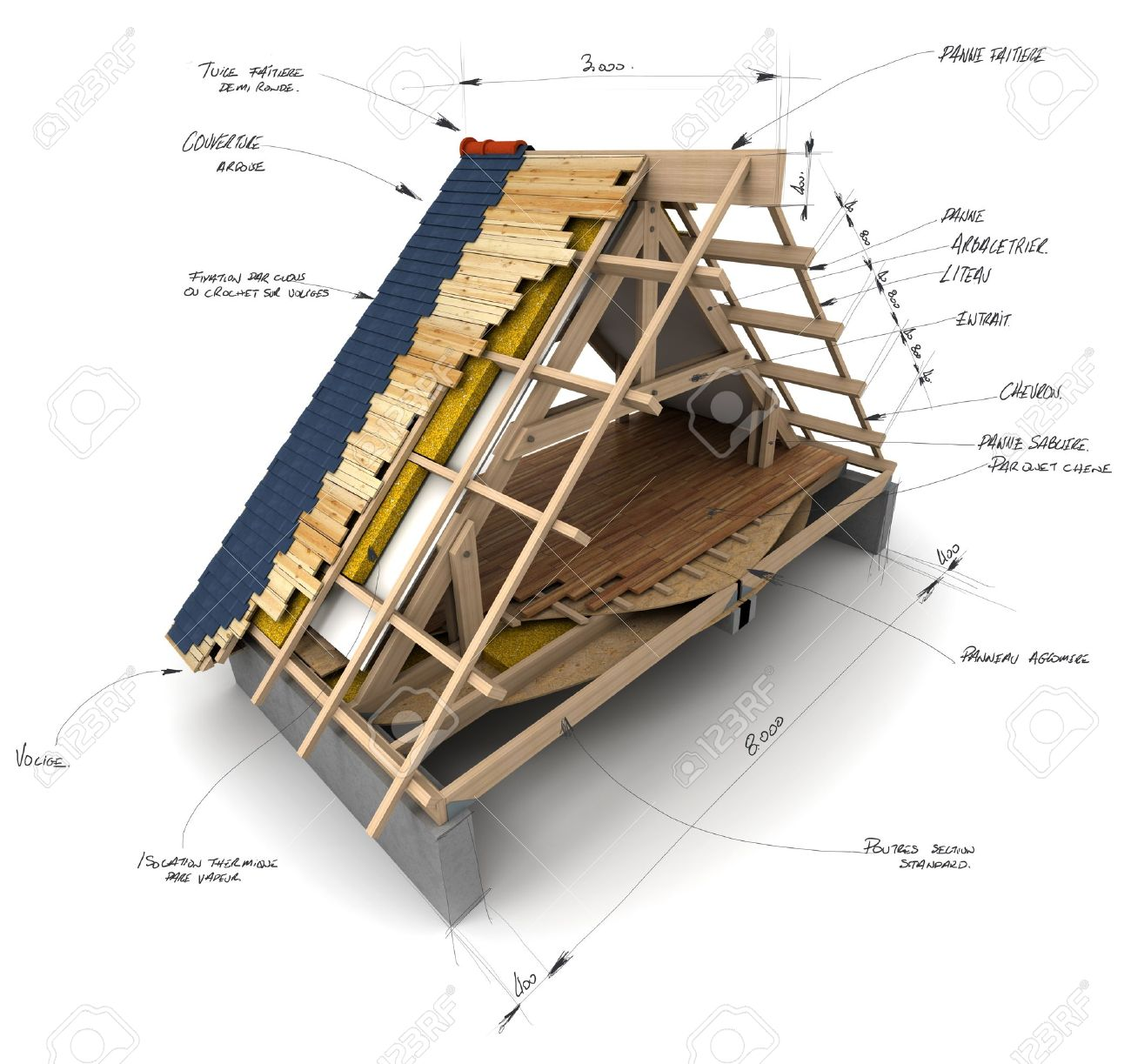 House Roofing Technical Details Stock Photo   16268565