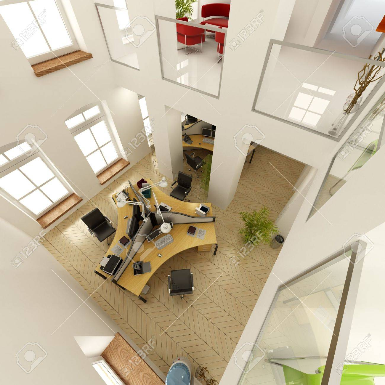 3D Rendering Of An Aerial View A Luxurious Office Stock Photo