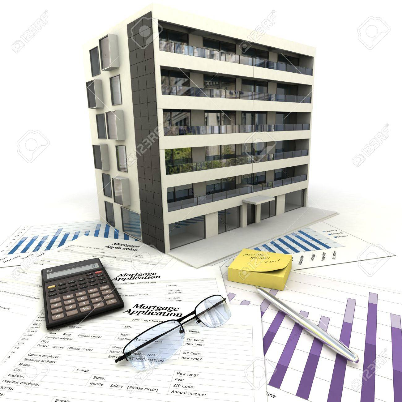 Apartment building on top of a table with mortgage application form, calculator, blueprints, etc.. Stock Photo - 16393341