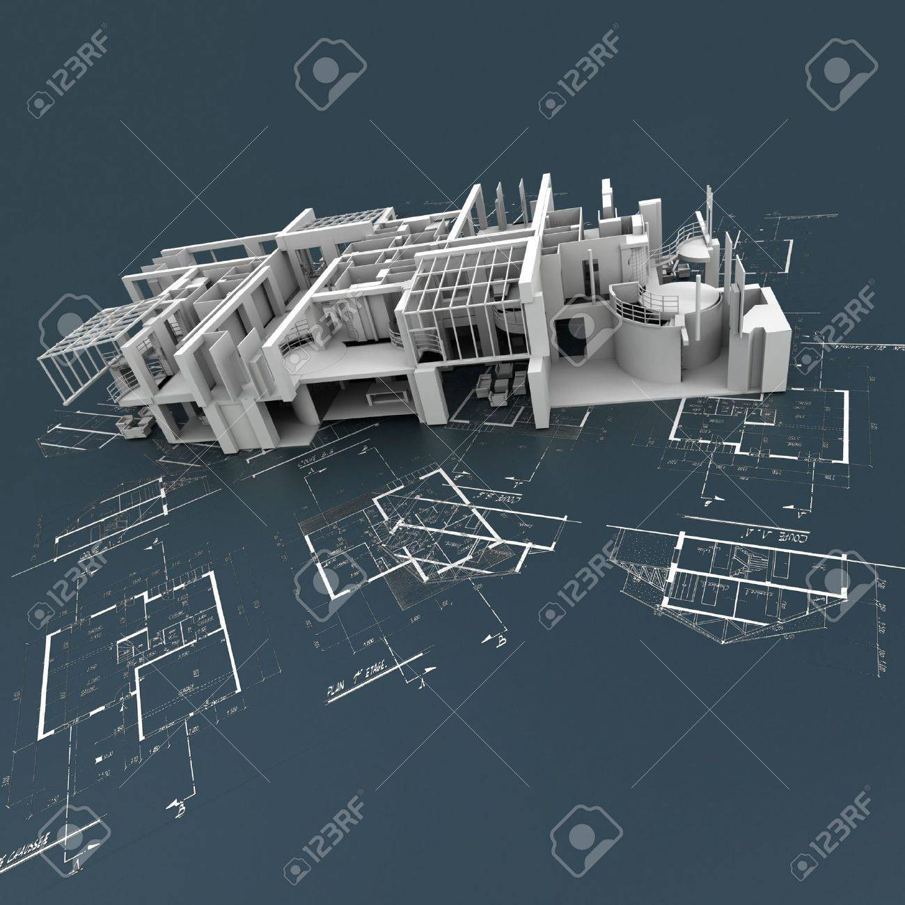 Stock Photo White Building Structure On Top Of Technical Blueprints