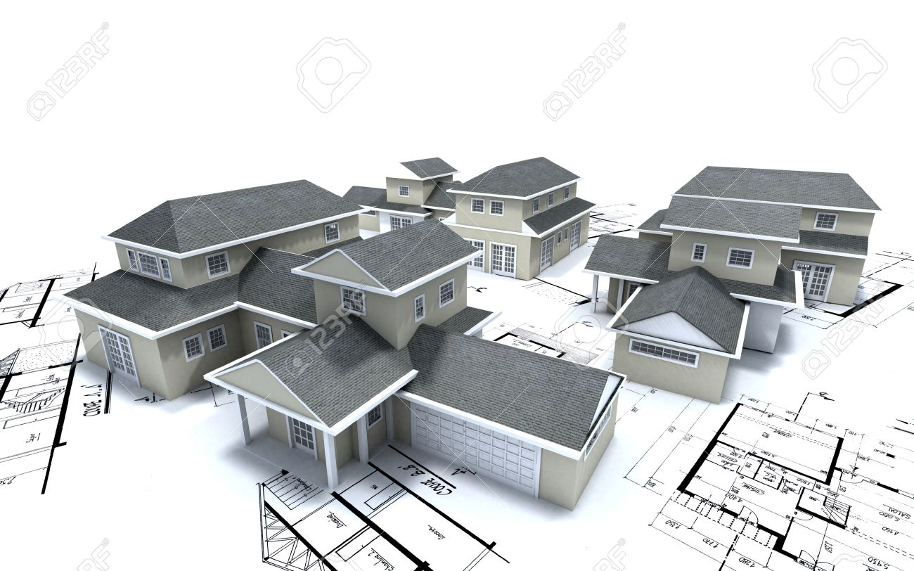 3d Rendering Of Different Residential Architecture Models On Top Of Blueprints Stock Photo 16306094
