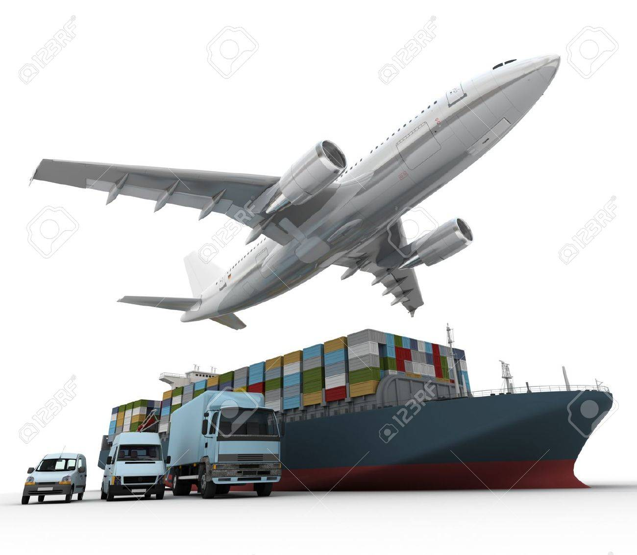 3D Rendering Of A Flying Plane, A Truck, A Lorry, And A Freight ...