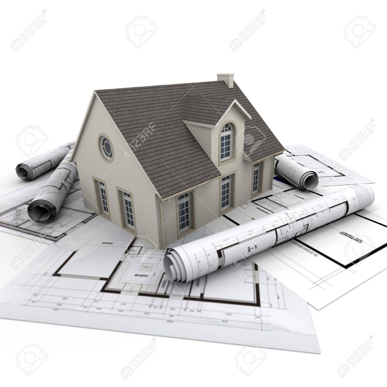 House On Top Of Architect Blueprints Stock Photo Picture And