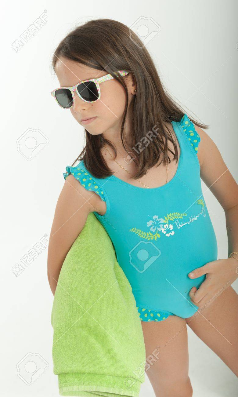 Young Girl With Sunglasses And Swimming Costume Stock Photo Picture