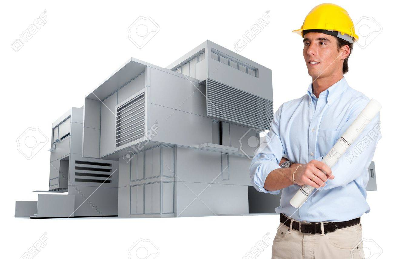 Man with a hardhat holding a roll of blueprints with a modern construction at the background Stock Photo - 16546316