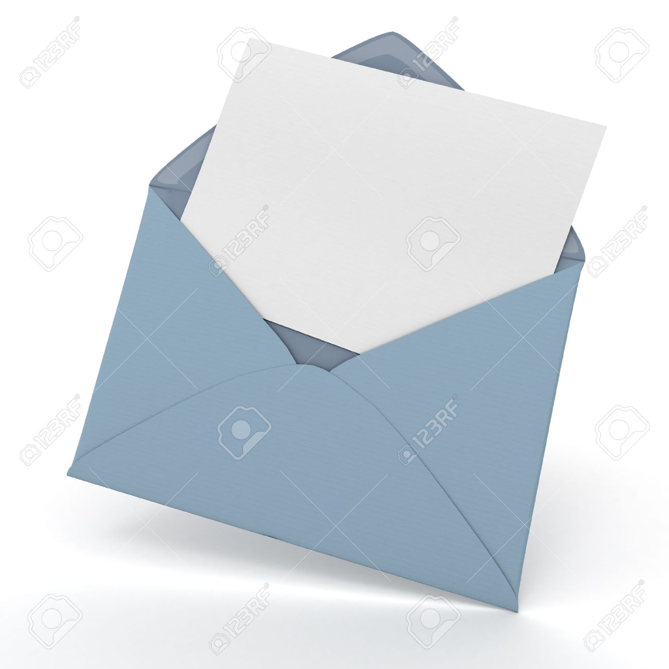 Colored card stock and envelopes - 3d Rendering Of An Open Envelope And A Blank Card Stock Photo 16561375