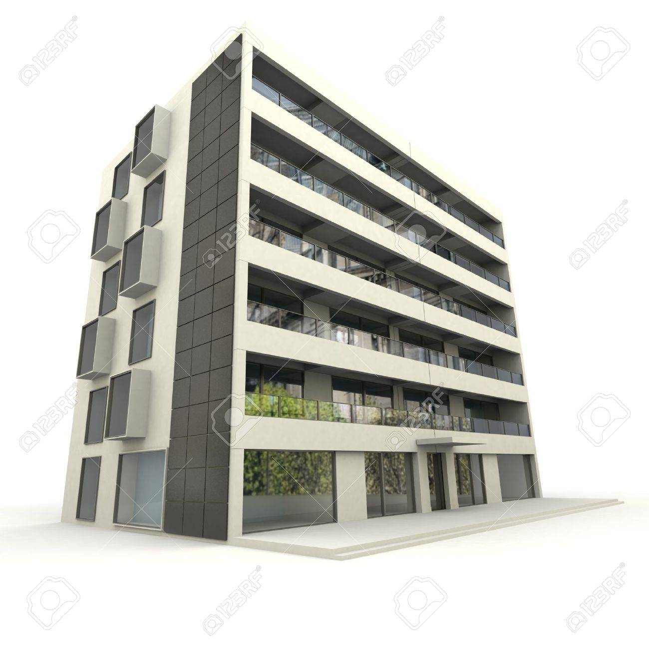 3D Rendering Of A Modern Apartment Building Stock Photo, Picture ...