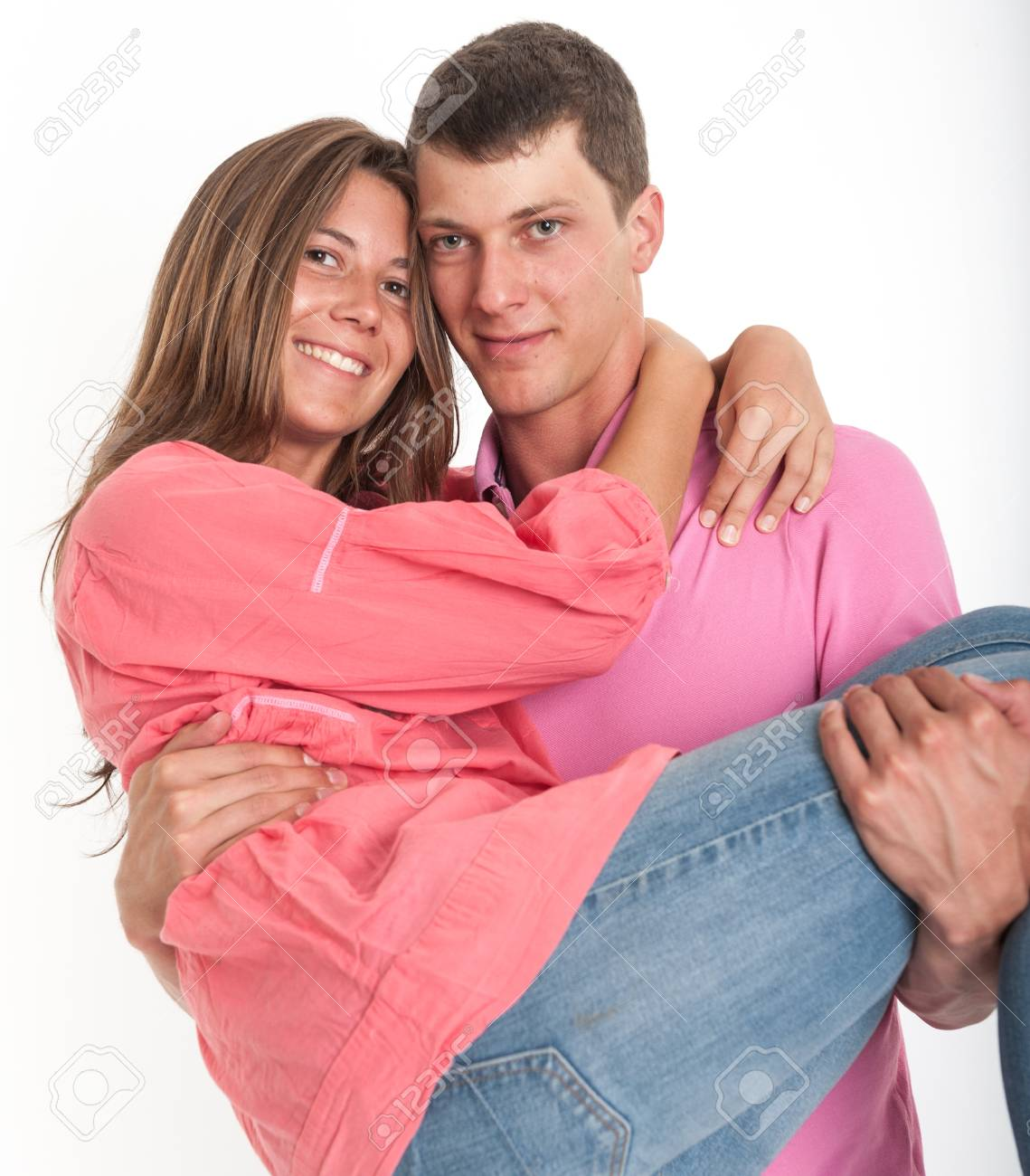 Young man carrying his girlfriend Stock Photo - 16657657