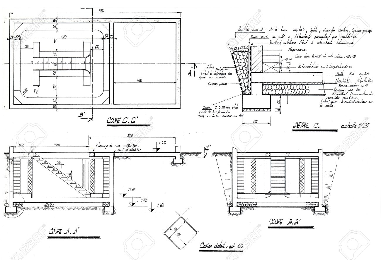 Detail of an architecture blueprint with explanations handwritten detail of an architecture blueprint with explanations handwritten in french stock photo 17848093 malvernweather Images