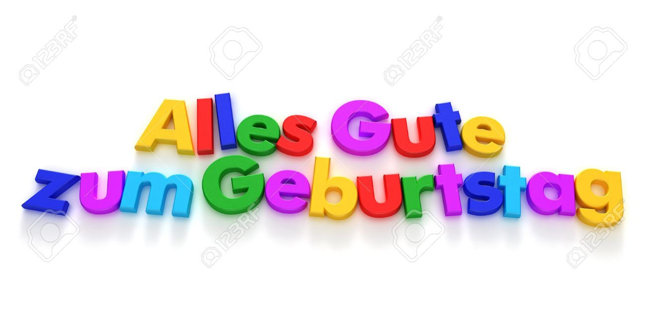 happy birthday in german alles gute zum geburtstag written with color letter magnets stock photo