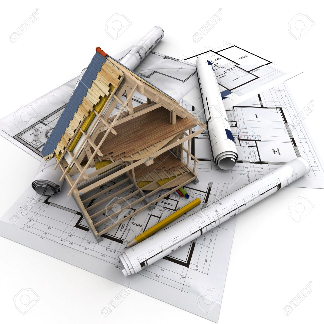 Technical Details Of Home Construction Stock Photo, Picture And ...