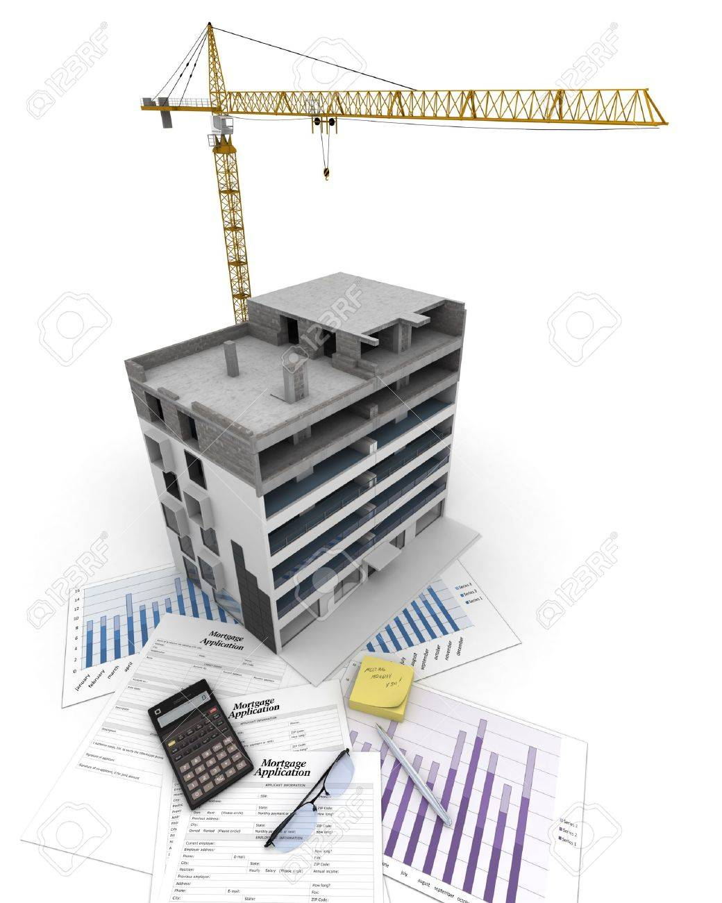 An apartment block in construction, on top of graphics and a mortgage application form - 18255776
