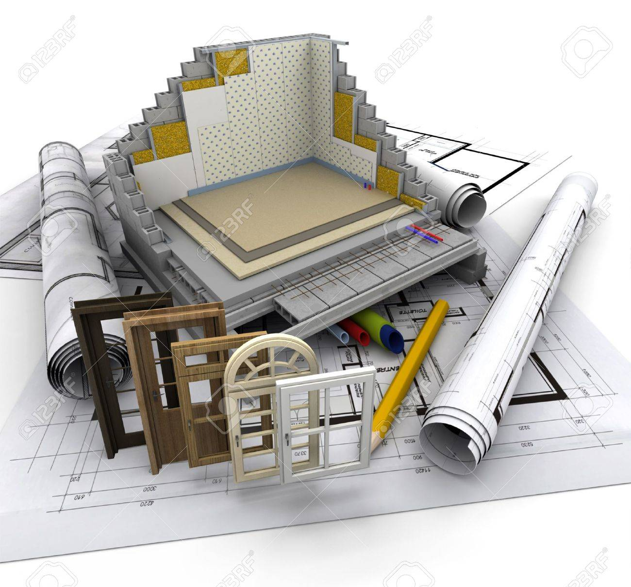 Technical details on home construction Stock Photo - 18846577