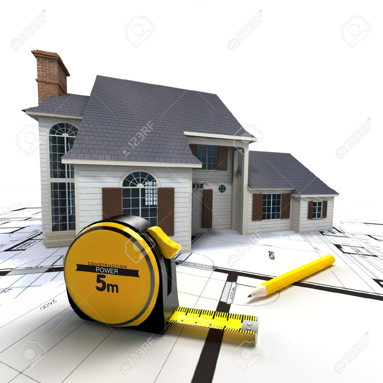 Aerial view of a house on top of blueprints and architect work tools Stock Photo - 18938696