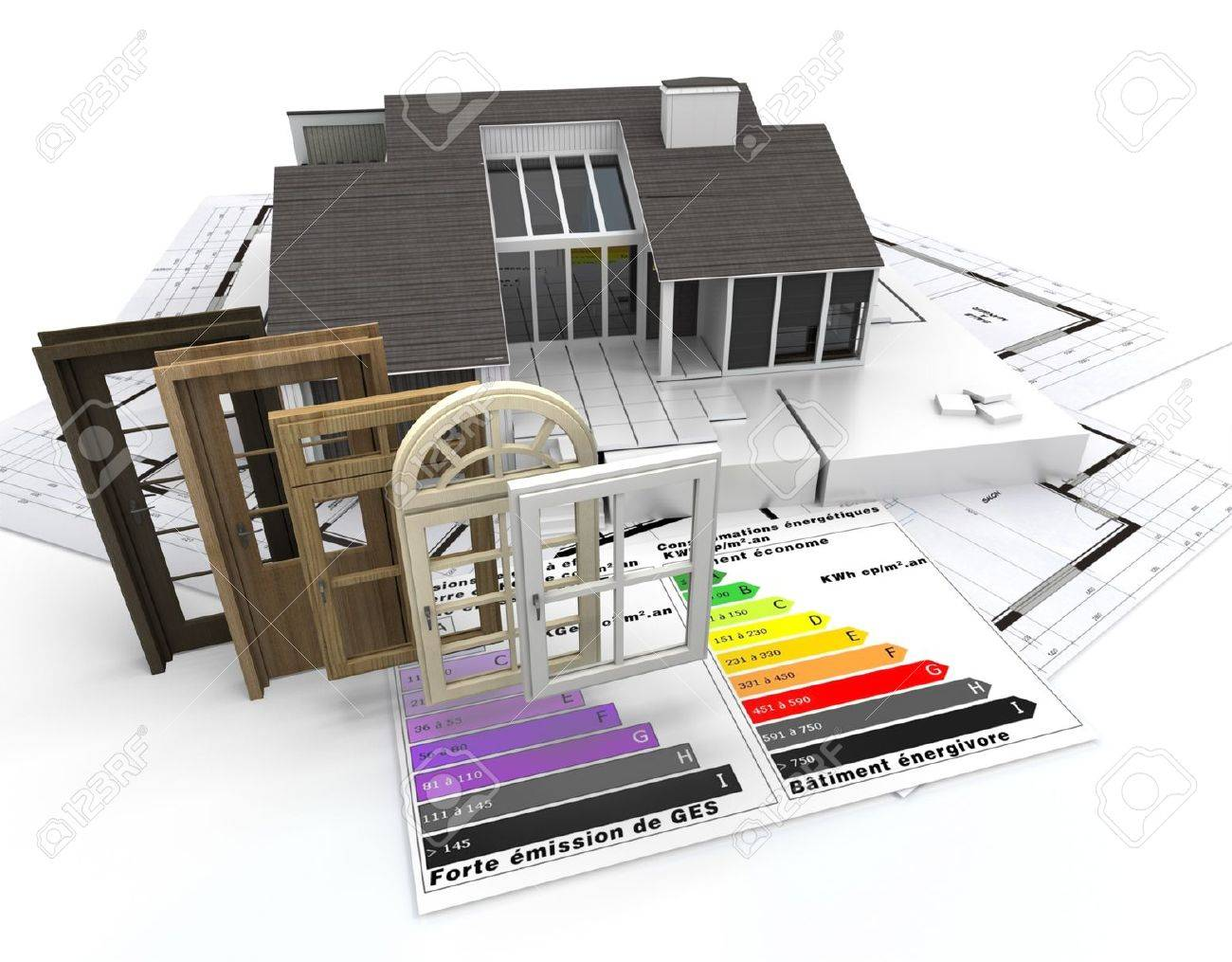 Home construction concept with energy efficiency chart and a selection of doors and windows Stock Photo - 18938584