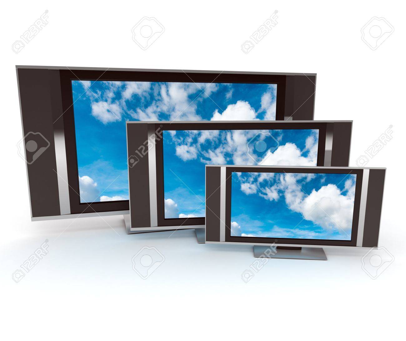 Three tvs with skys on the screens and white background Stock Photo - 19194720