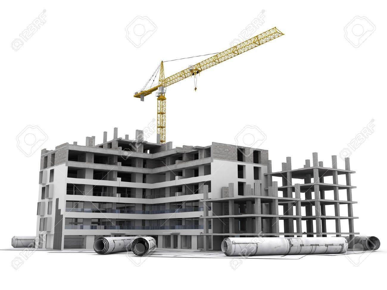 Building under construction with crane, on top of blueprints - 19362016