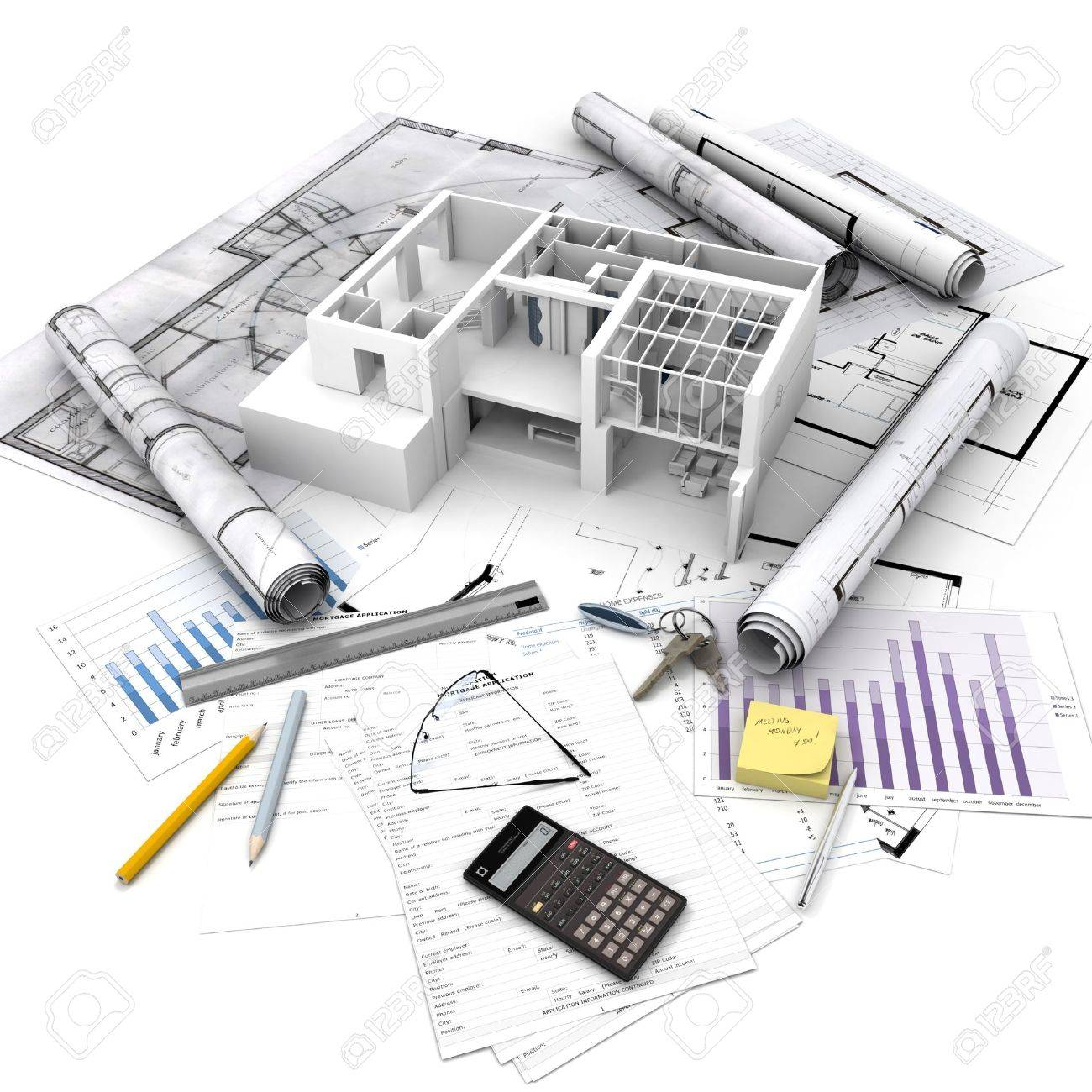 office building blueprints. Office Building With Open Interior On Top Of Blueprints, Documents And Mortgage Calculations Stock Photo Blueprints L
