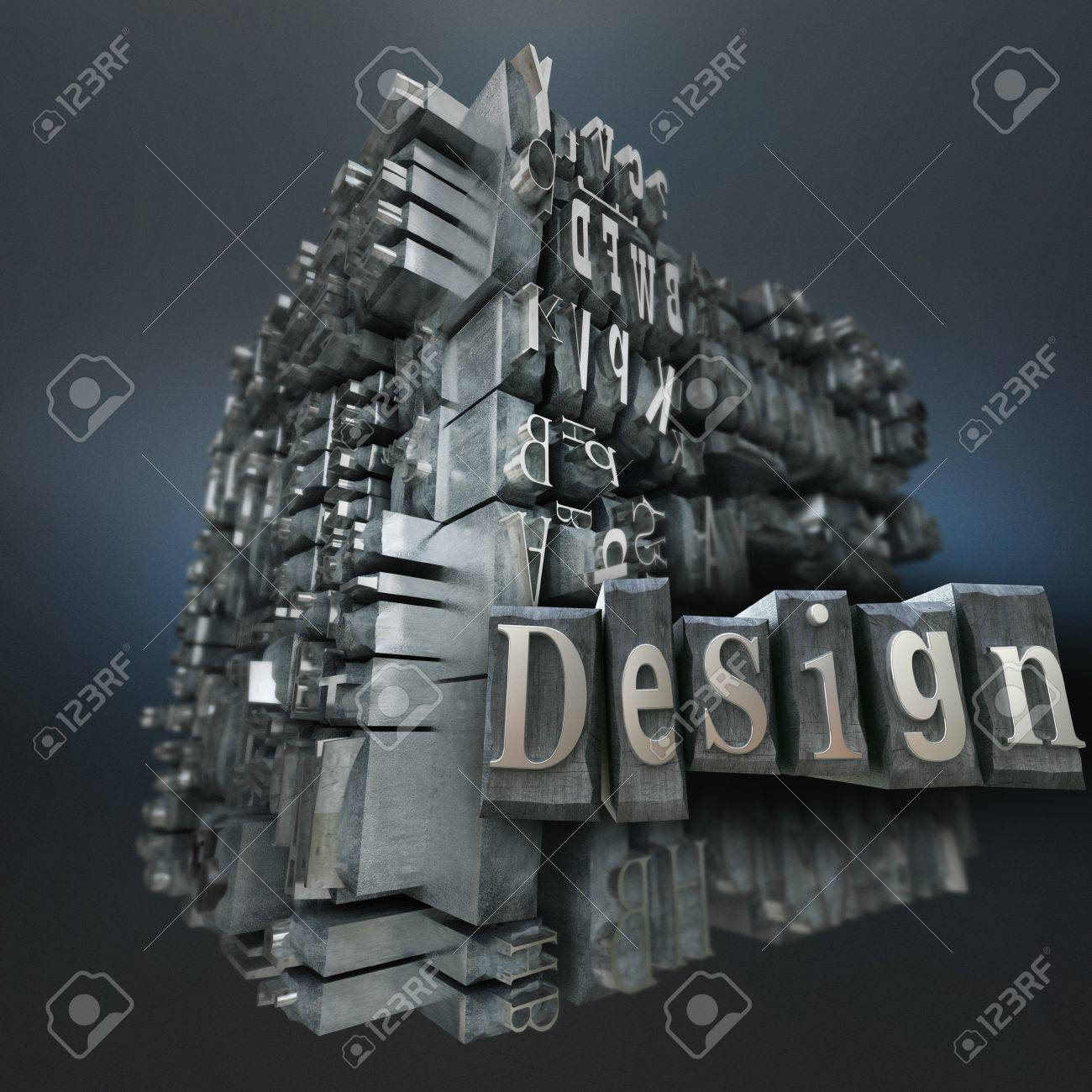 Block of metallic printing letters and the word design Stock Photo - 19715947