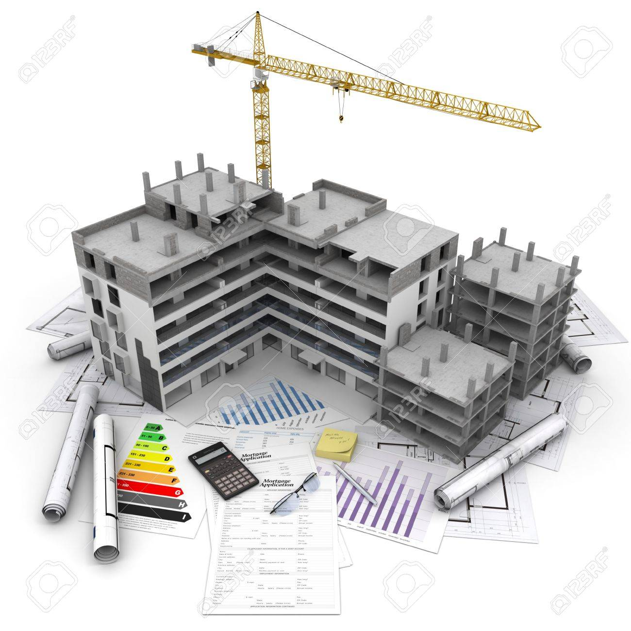 Building under construction with crane on top of blueprints building under construction with crane on top of blueprints mortgage applications and energy rating malvernweather Images