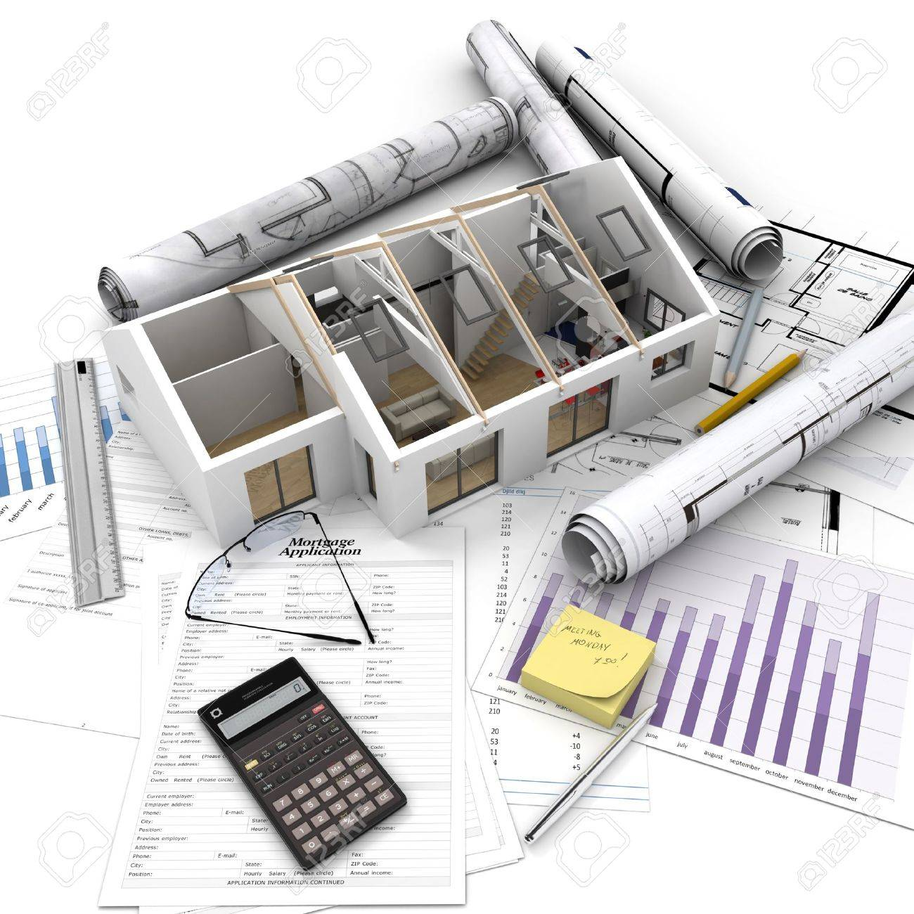 A house on top of a table with mortgage application form, calculator, blueprints, etc.. Stock Photo - 19979983