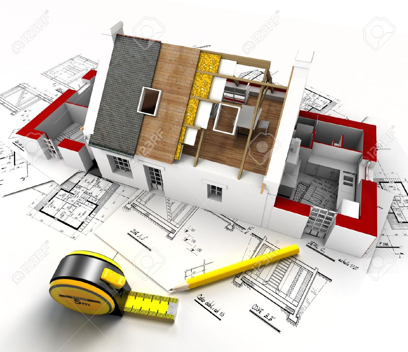 Aerial view of a house under construction with blueprints and aerial view of a house under construction with blueprints and architect work tools stock photo malvernweather Images