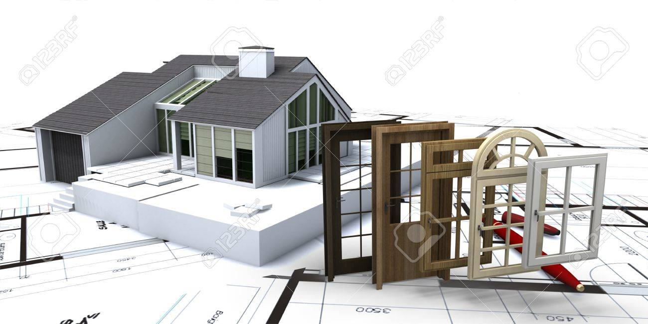 House on blueprints with a choice of windows and doors Stock Photo - 20202117