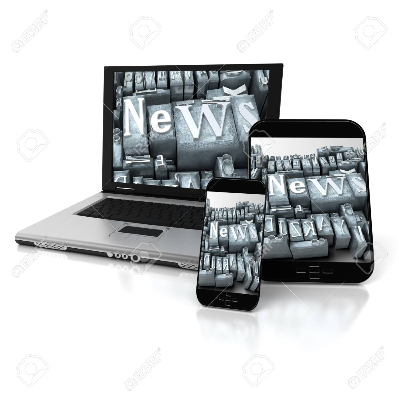 A tablet, a mobile phone and a laptop with the word news in typescript letters Stock Photo - 20252315