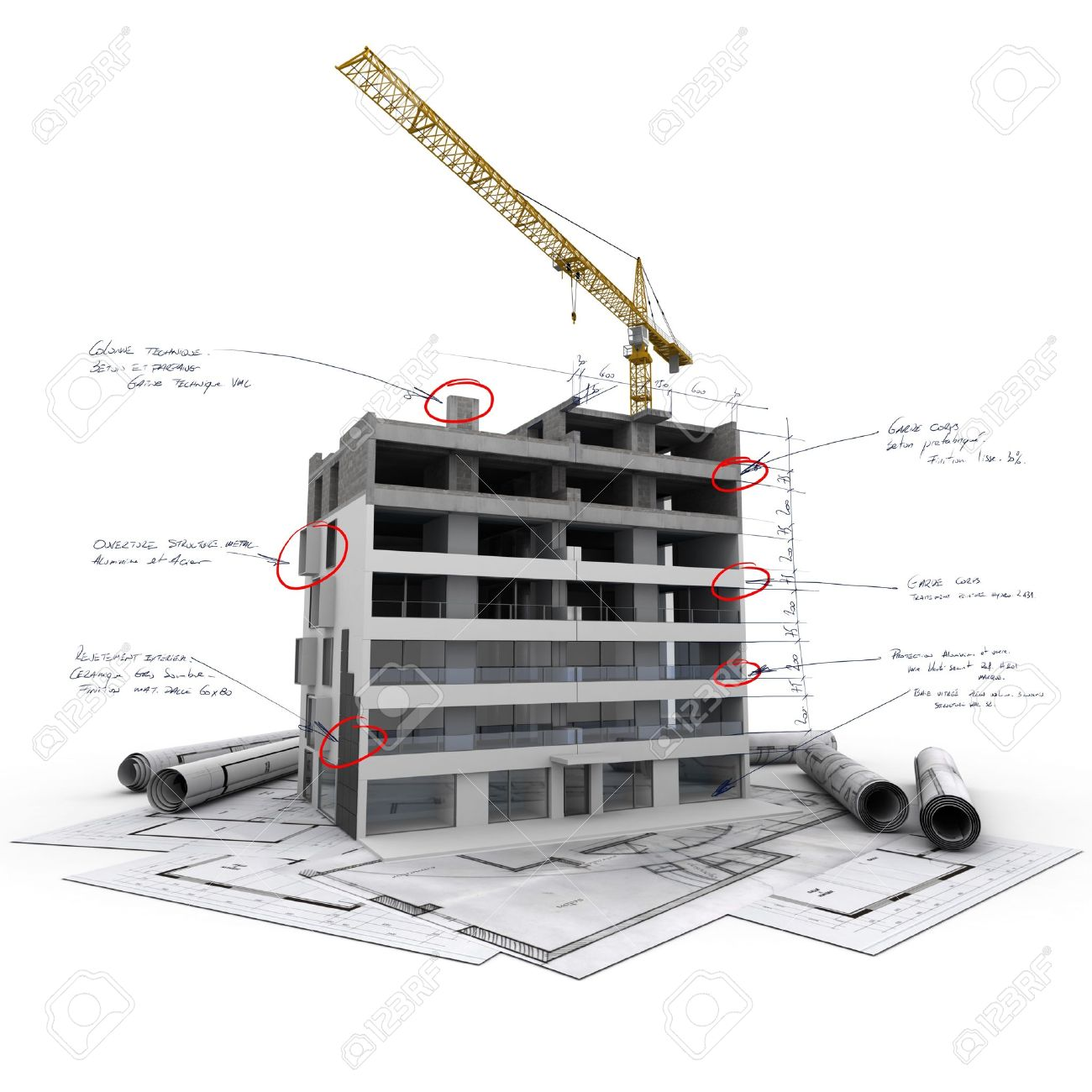 Building under construction with technical notes on top of blueprints - 20857451