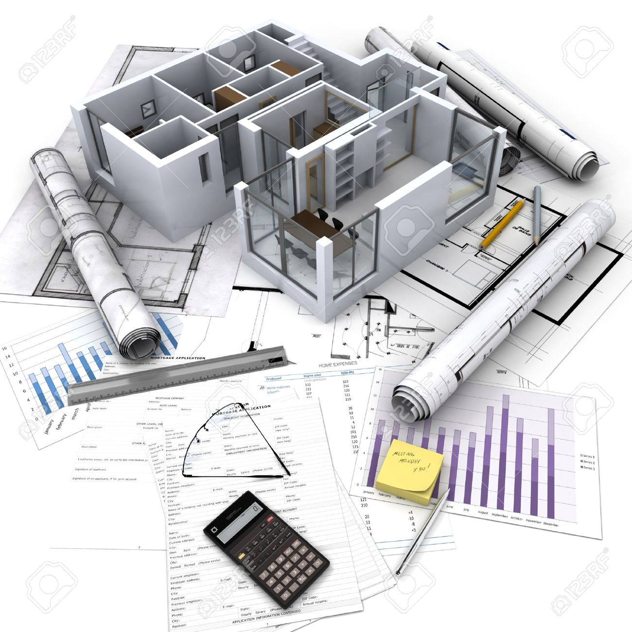 Office building with open interior on top of blueprints documents office building with open interior on top of blueprints documents and mortgage calculations stock photo malvernweather Image collections