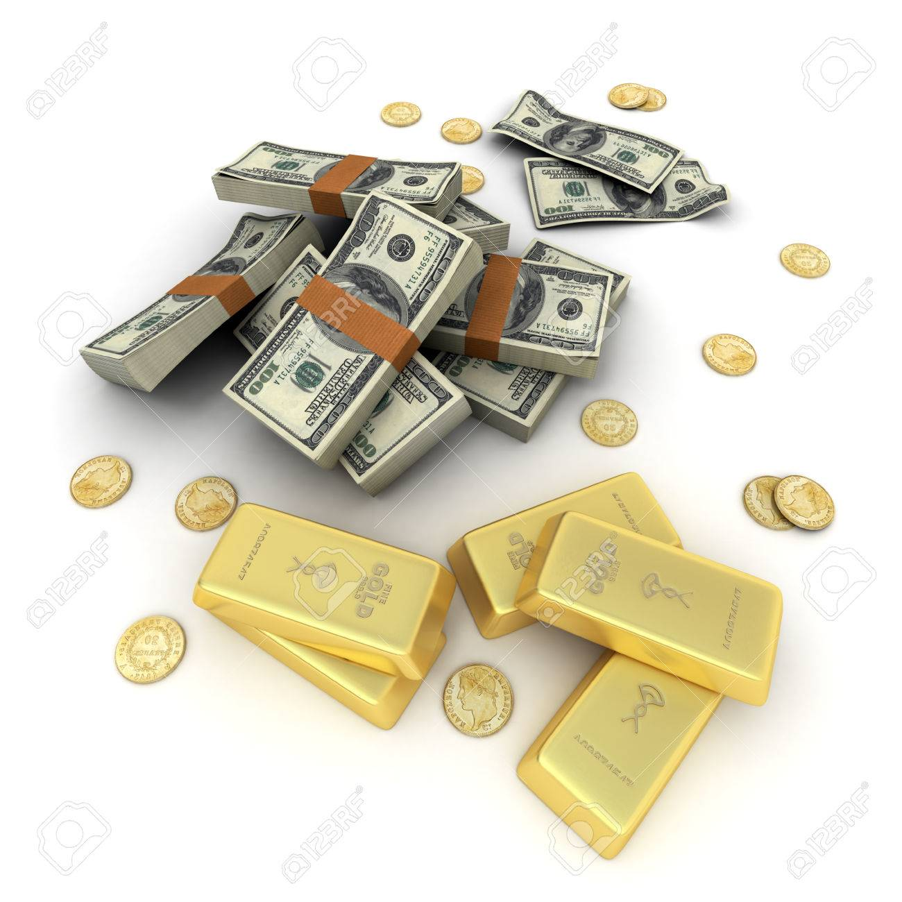 Una Fortuna En Billetes De Dólar Lingotes Y Monedas De Oro Fotos Retratos Imágenes Y Fotografía De Archivo Libres De Derecho Image 23790958