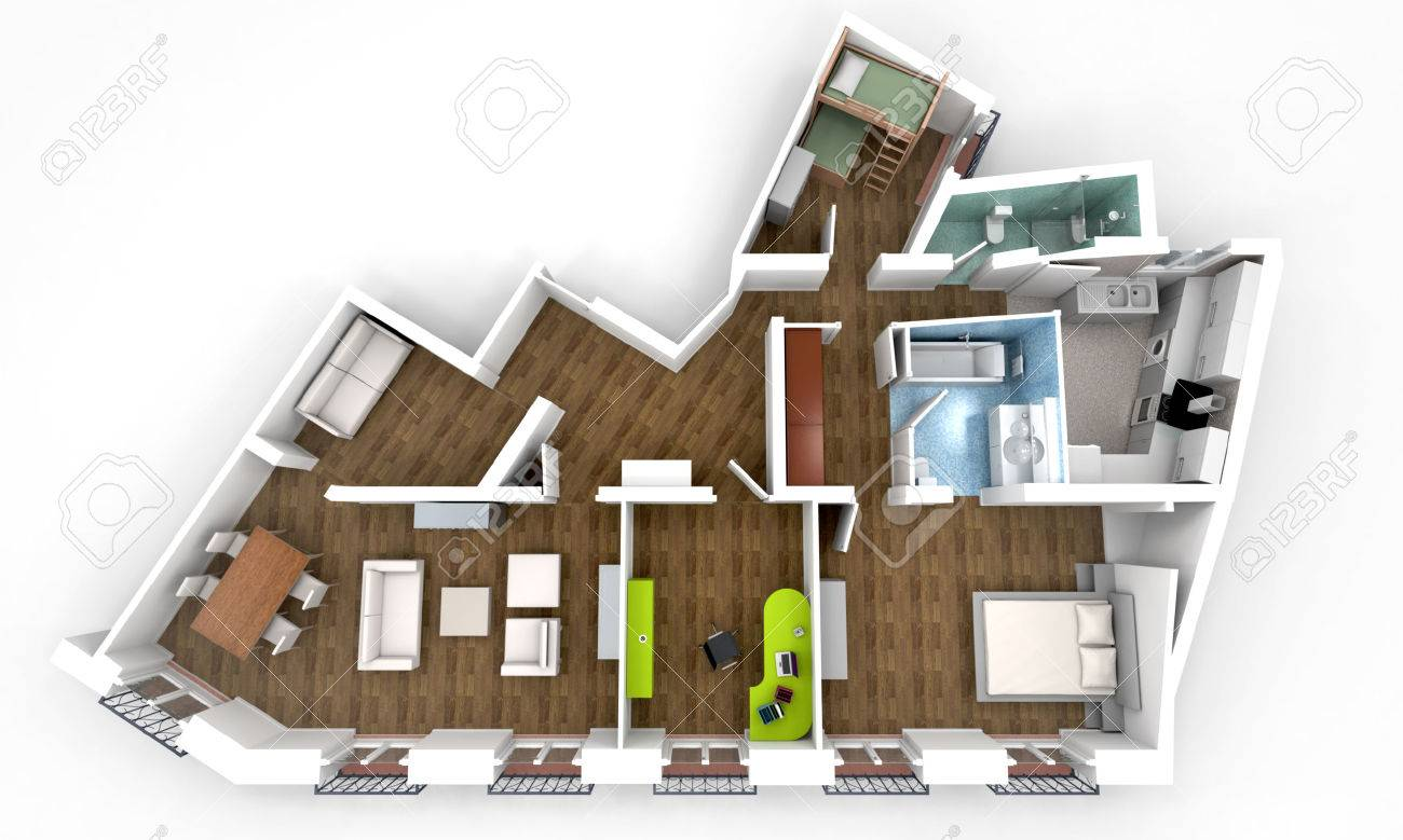 Charming 3D Rendering Of A Roofless Architecture Model Showing An Apartment Interior  Fully Furnished Stock Photo