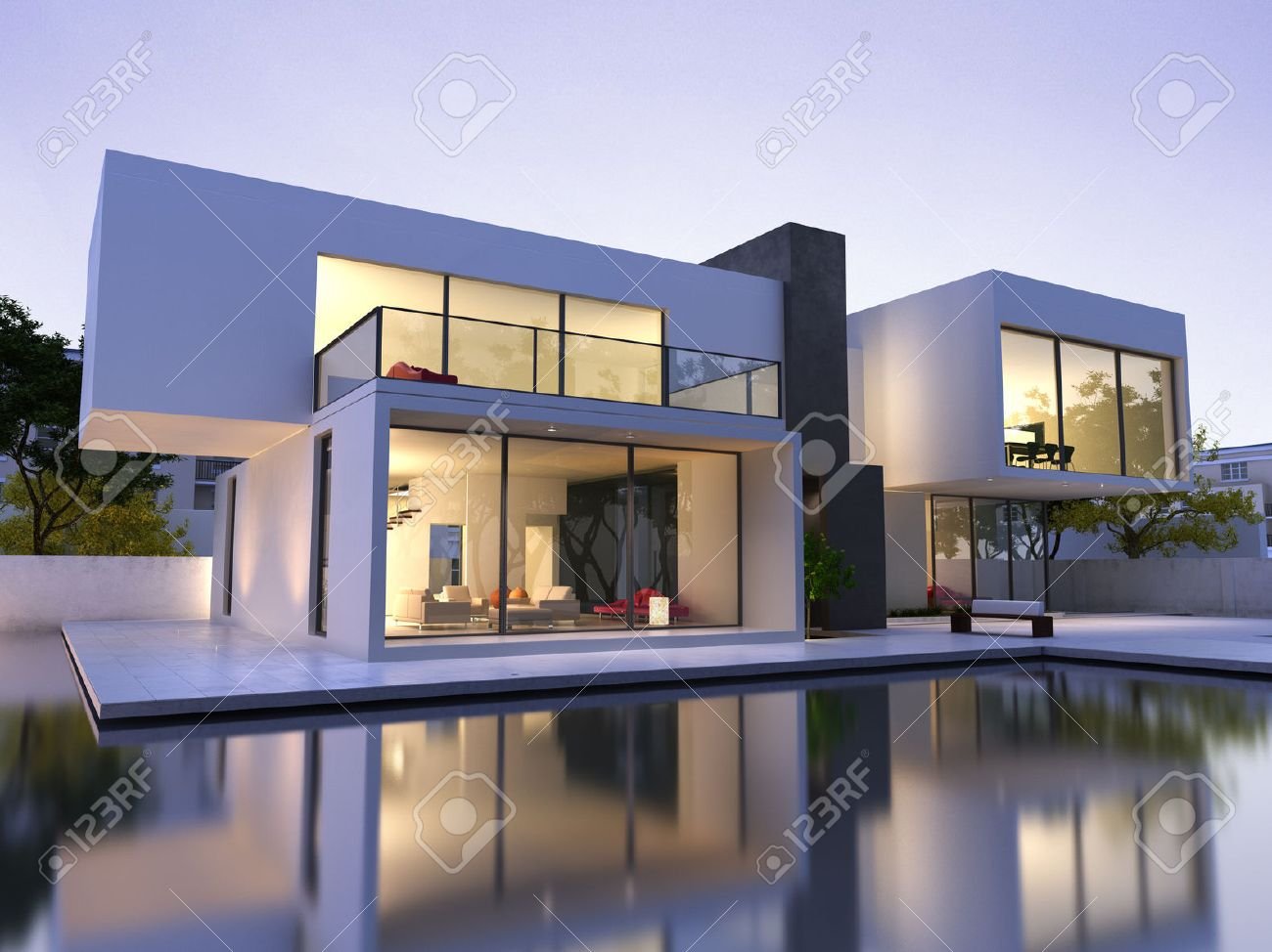 Banque Du0027images   Vue Extérieure Du0027une Maison Moderne Avec Piscine Au  Crépuscule