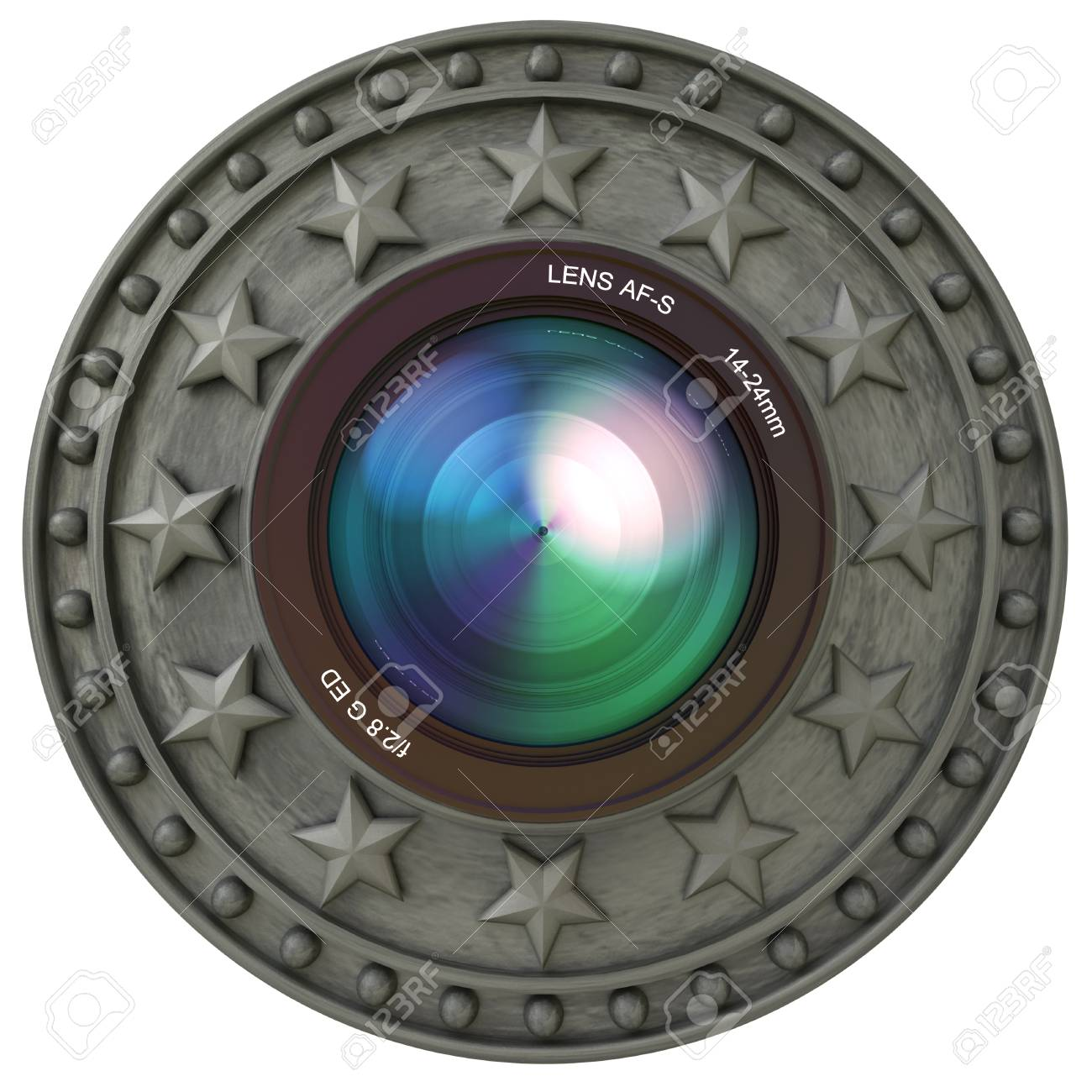 Camera Lens In A Insignia Frame Stock Photo, Picture And Royalty ...
