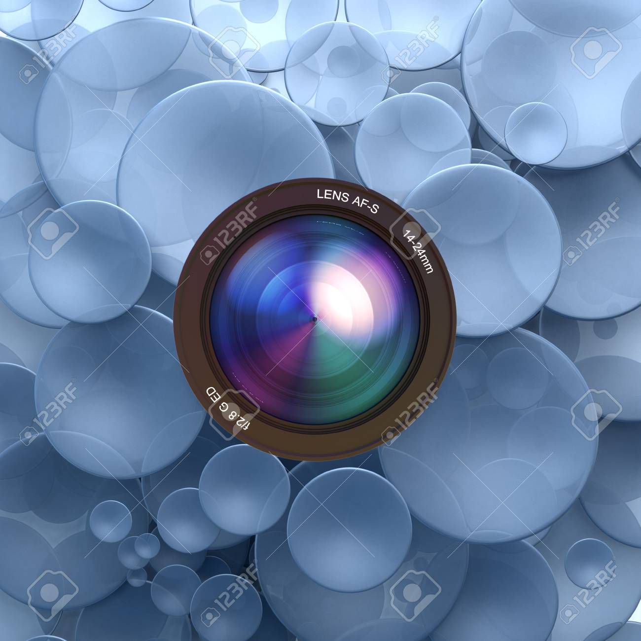Blue disks and a camera lens Stock Photo - 27103182
