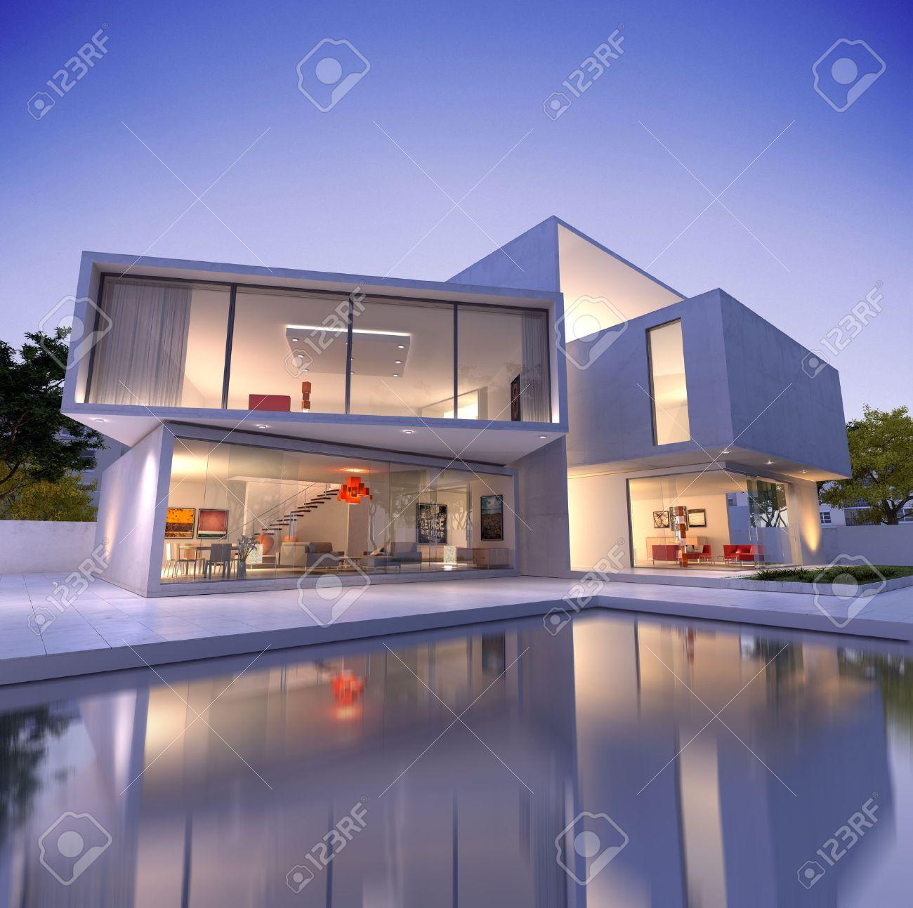 Außenansicht Von Einem Modernen Haus Mit Pool In Der Abenddämmerung ...