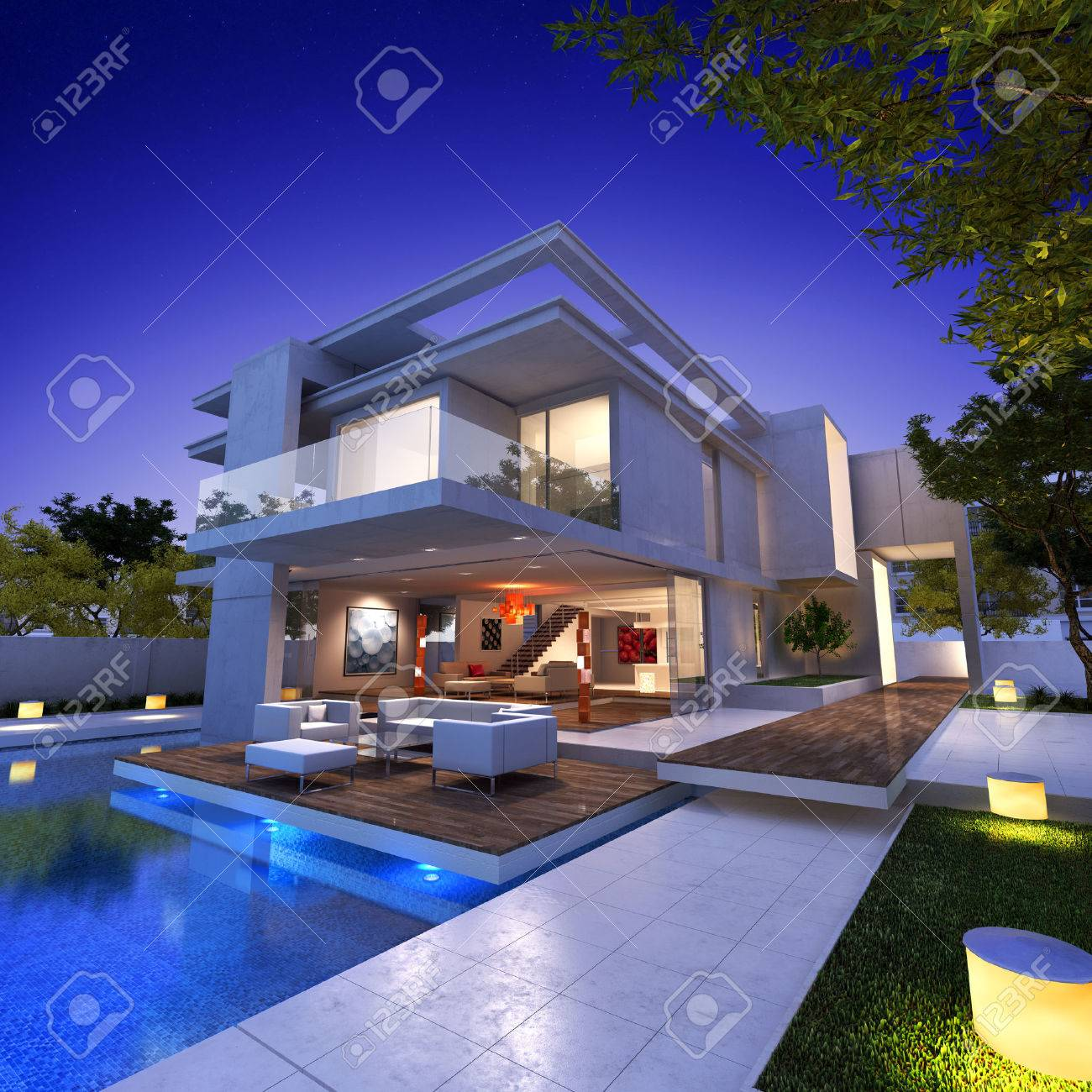 External View Of A Contemporary House With Pool At Dusk Stock Photo    27339984