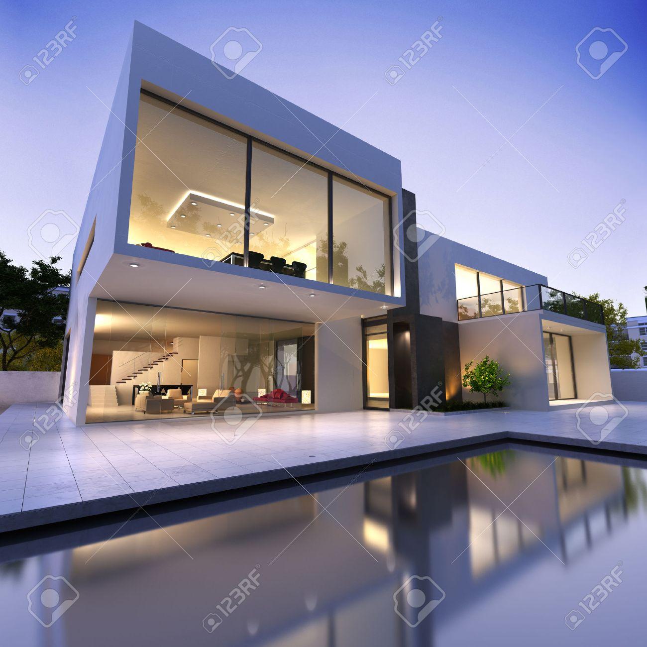 Vue Extérieure D\'une Maison Moderne Avec Piscine Au Crépuscule ...
