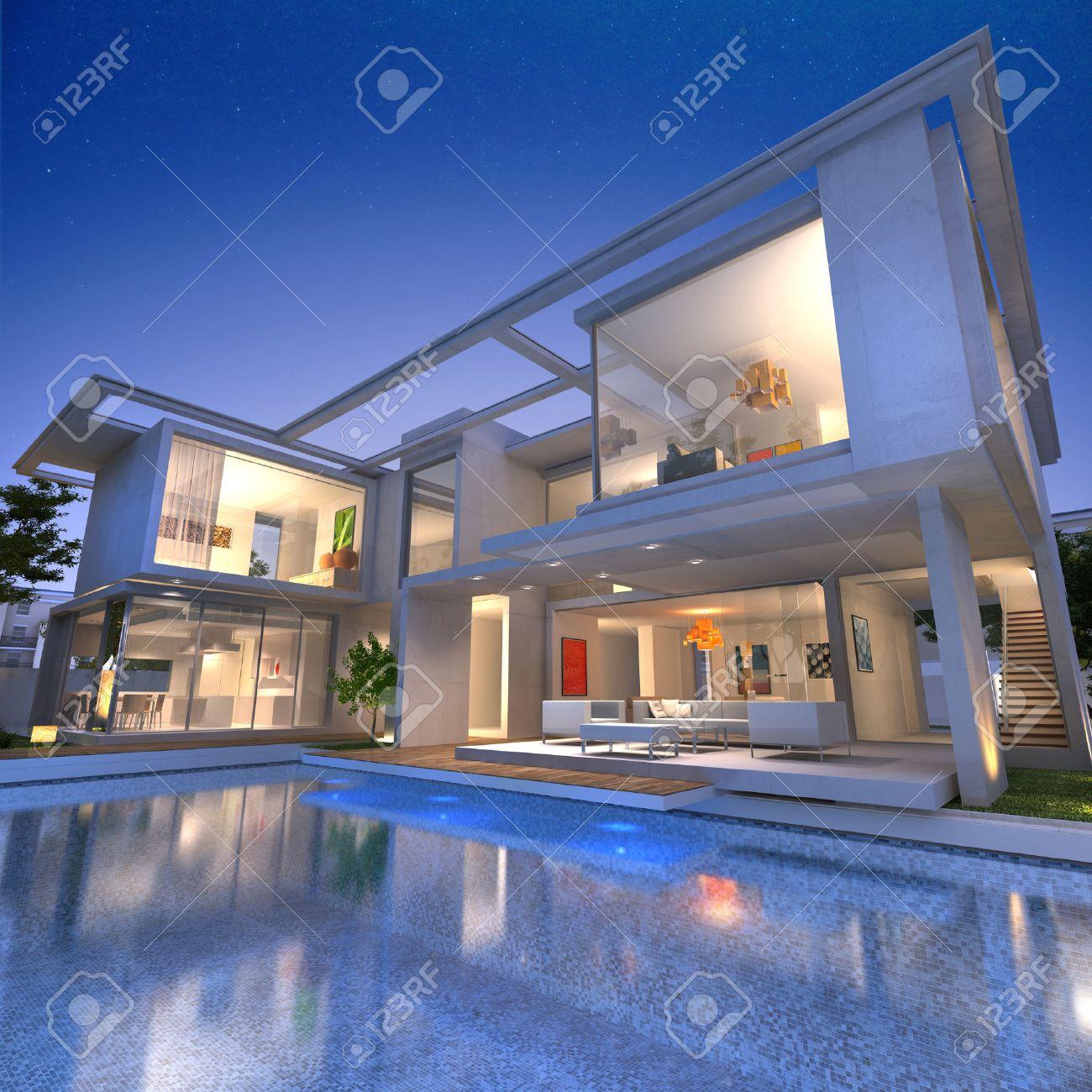 Extern syn på en modern hus med pool i skymningen royalty fria ...
